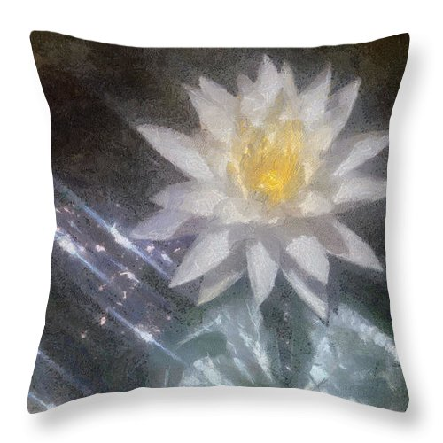 Water Lily Throw Pillow featuring the painting Water Lily In Sunlight by Jeffrey Kolker