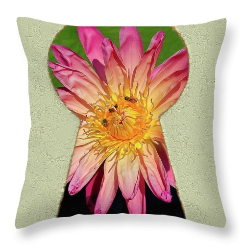 Waterlily Throw Pillow featuring the drawing Water Lily Keyhole by Steve Edwards