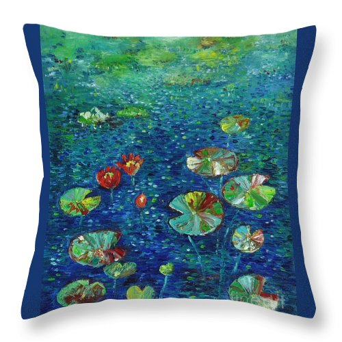 Lotus Paintings Throw Pillow featuring the painting Water Lily Lotus Lily Pads Paintings by Seon-Jeong Kim