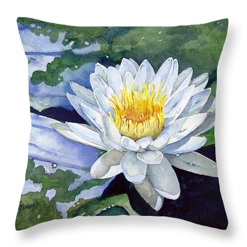 Flower Throw Pillow featuring the painting Water Lily by Sam Sidders
