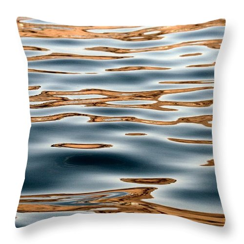 Water Throw Pillow featuring the photograph Water Movement- Liquid Gold by Tiffany Vest