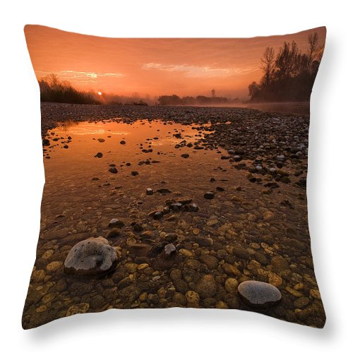 Landscape Throw Pillow featuring the photograph Water On Mars by Davorin Mance