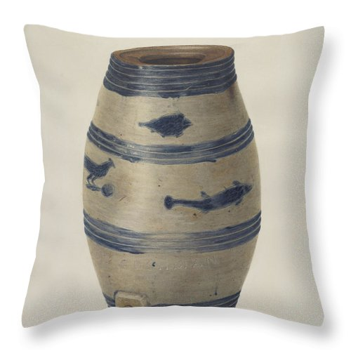 Throw Pillow featuring the drawing Water Or Wine Jug by Nicholas Amantea