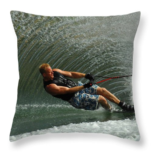 Water Skiing Throw Pillow featuring the photograph Water Skiing Magic Of Water 11 by Bob Christopher
