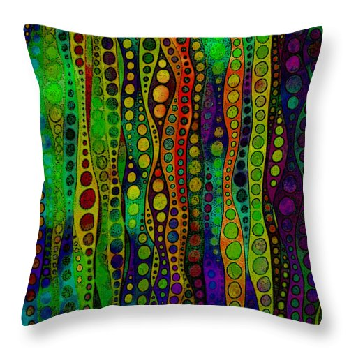 Water Space Abstract Lines Circles Green Blue Purple Yellow Throw Pillow featuring the digital art Water Space by Susan Epps Oliver