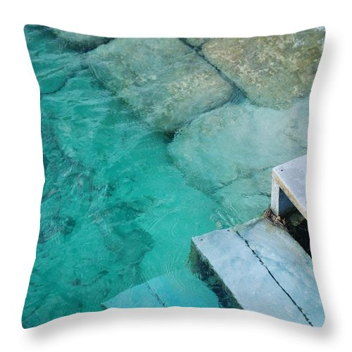 Water Blocks Bricks Throw Pillow featuring the photograph Water Steps by Rob Hans