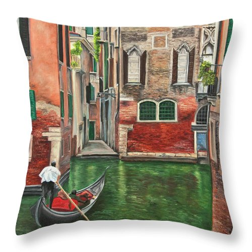 Venice Paintings Throw Pillow featuring the painting Water Taxi On Venice Side Canal by Charlotte Blanchard