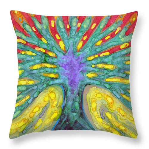 Colour Throw Pillow featuring the painting Water Tree by Wojtek Kowalski