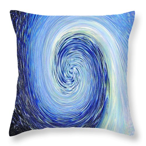 Blue Throw Pillow featuring the photograph Water Twirl Blue by Steve Somerville