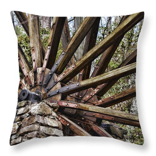 Water Wheel Throw Pillow featuring the photograph Water Wheel In The Fall by Ed Waldrop
