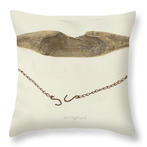 Throw Pillow featuring the drawing Water Yoke by Albert Geuppert