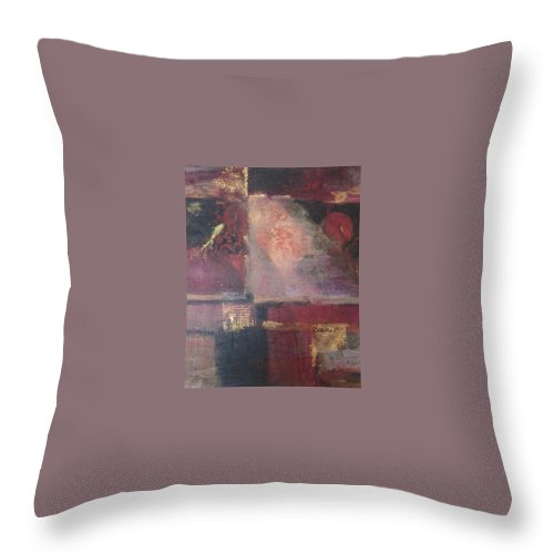 Abstract Throw Pillow featuring the mixed media Waterbucket by Pat Snook