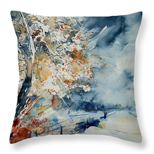 Landscape Throw Pillow featuring the painting Watercolo 2407063 by Pol Ledent