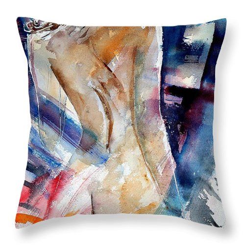 Nude Throw Pillow featuring the painting Watercolor 010107 by Pol Ledent