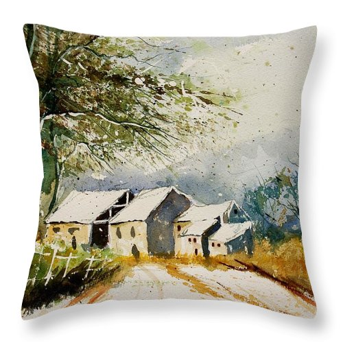 Landscape Throw Pillow featuring the painting Watercolor 010708 by Pol Ledent