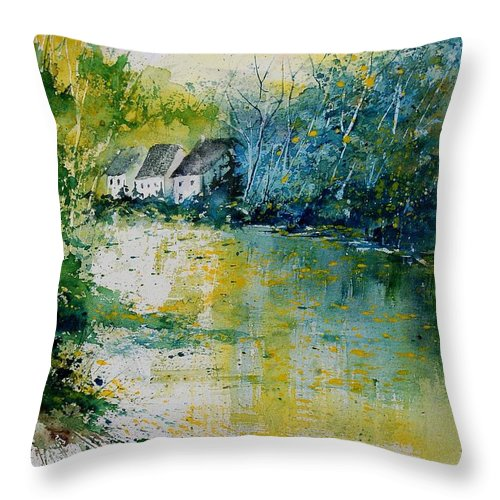 River Throw Pillow featuring the painting Watercolor 011108 by Pol Ledent