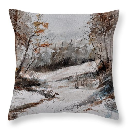 Landscape Throw Pillow featuring the painting Watercolor 017051 by Pol Ledent