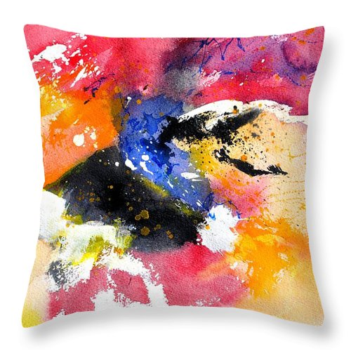 Abstract Throw Pillow featuring the painting Watercolor 017081 by Pol Ledent