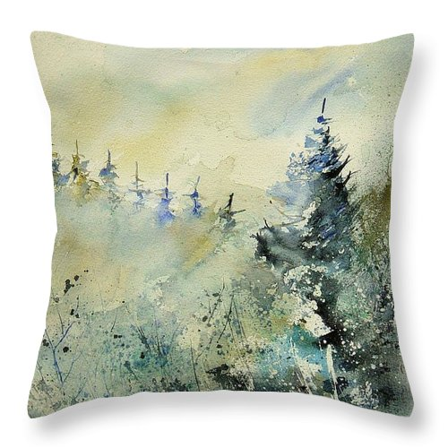 Winter Throw Pillow featuring the painting Watercolor 020307 by Pol Ledent