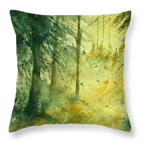 Tree Throw Pillow featuring the painting Watercolor 030106 by Pol Ledent