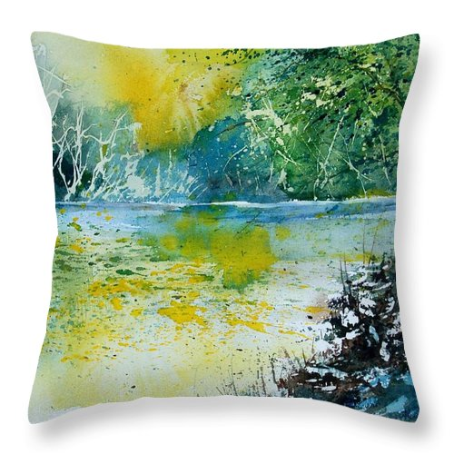 Pond Throw Pillow featuring the painting Watercolor 051108 by Pol Ledent