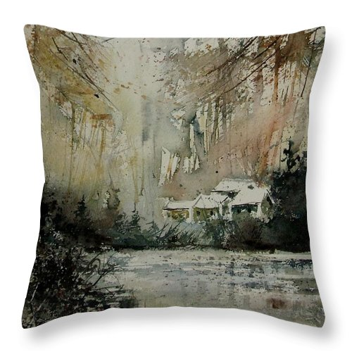 Landscape Throw Pillow featuring the painting Watercolor 070608 by Pol Ledent
