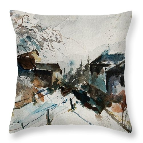 Winter Throw Pillow featuring the painting Watercolor 080707 by Pol Ledent