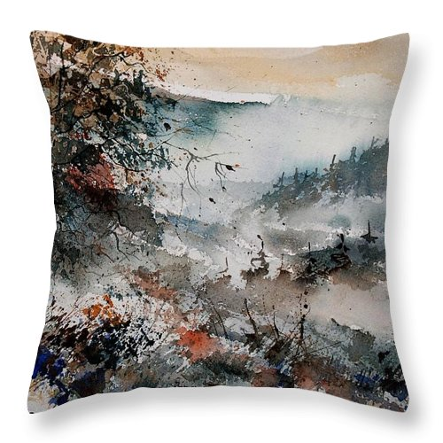 Winter Throw Pillow featuring the painting Watercolor 081108 by Pol Ledent