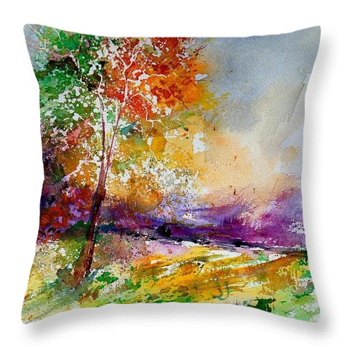 Spring Throw Pillow featuring the painting Watercolor 100507 by Pol Ledent