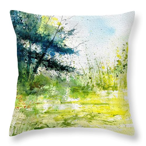 Landscape Throw Pillow featuring the painting Watercolor 111141 by Pol Ledent