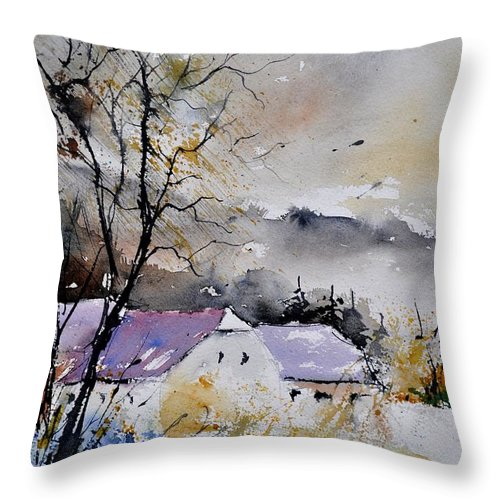 Landscape Throw Pillow featuring the painting Watercolor 112012 by Pol Ledent