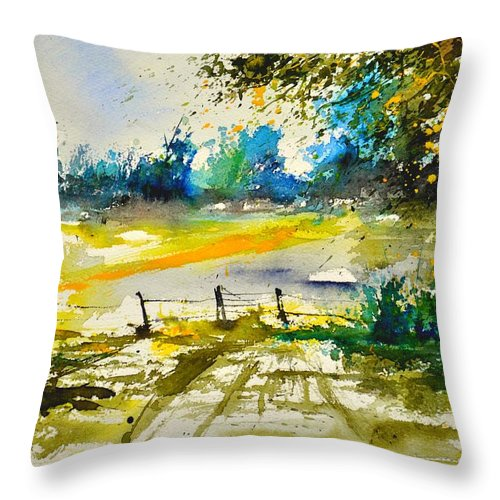Landscape Throw Pillow featuring the painting Watercolor 112040 by Pol Ledent