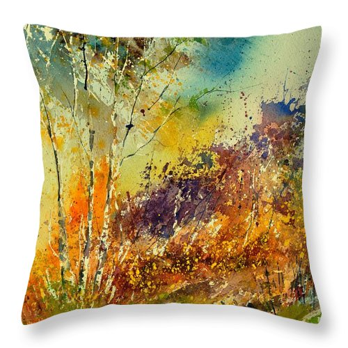 Landscape Throw Pillow featuring the painting Watercolor 115060 by Pol Ledent
