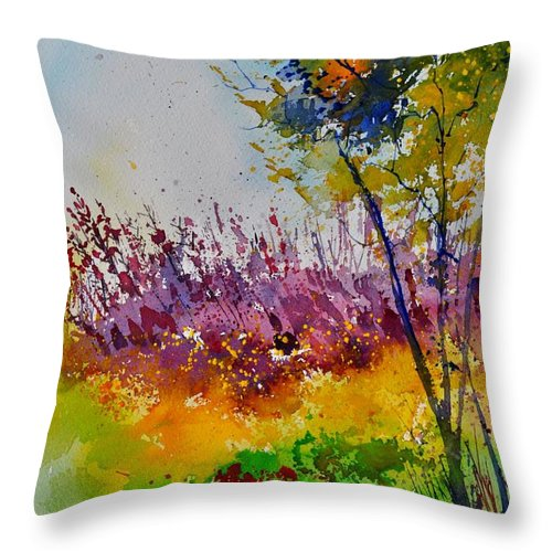 Landscape Throw Pillow featuring the painting Watercolor 119060 by Pol Ledent