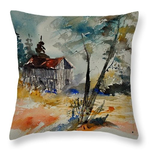 Landscape Throw Pillow featuring the painting Watercolor 119070 by Pol Ledent