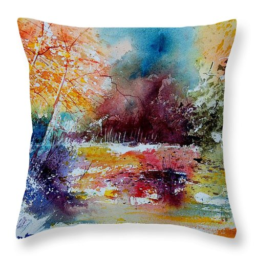 Pond Throw Pillow featuring the painting Watercolor 140908 by Pol Ledent