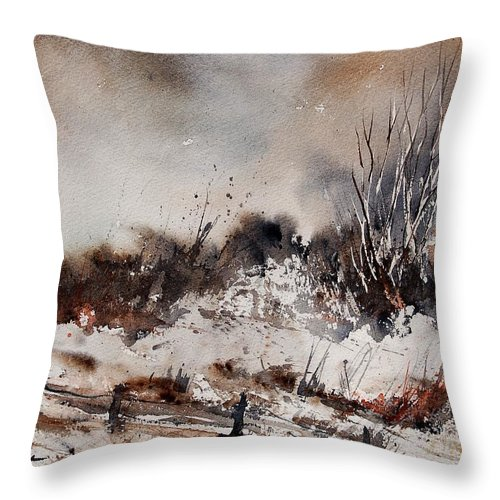 Winter Throw Pillow featuring the painting Watercolor 150708 by Pol Ledent