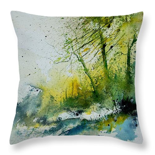 River Throw Pillow featuring the painting Watercolor 181207 by Pol Ledent