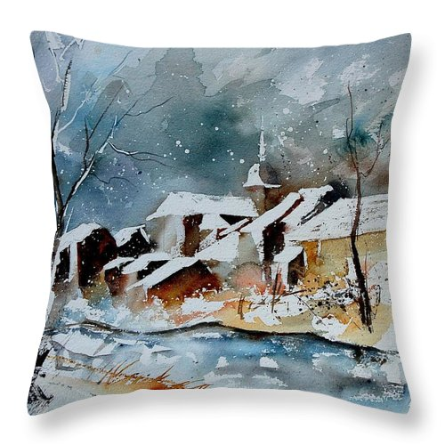 Winter Throw Pillow featuring the painting Watercolor 190607 by Pol Ledent
