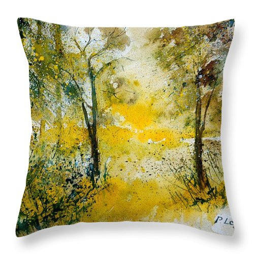 River Throw Pillow featuring the painting Watercolor 210108 by Pol Ledent
