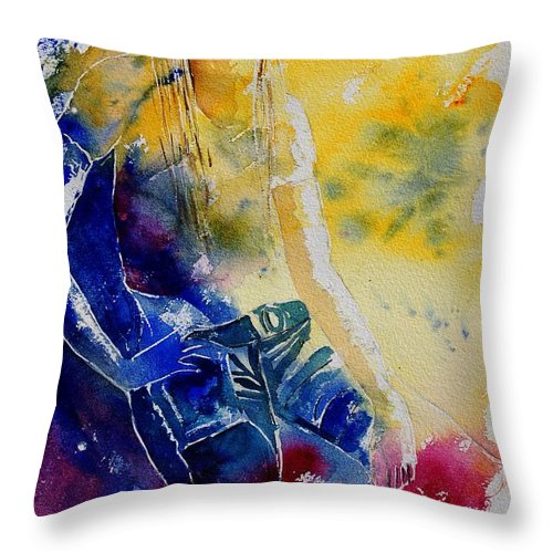 Girl Nude Throw Pillow featuring the painting Watercolor 21546 by Pol Ledent