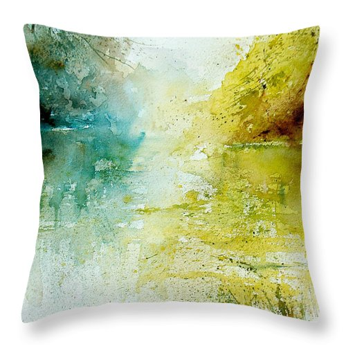 Pond Nature Landscape Throw Pillow featuring the painting Watercolor 24465 by Pol Ledent
