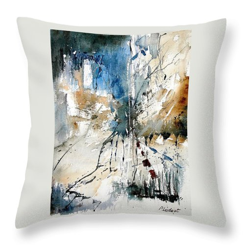 Abstract Throw Pillow featuring the painting Watercolor 251108 by Pol Ledent