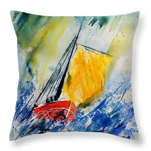 Sea Waves Ocean Boat Sailing Throw Pillow featuring the painting Watercolor 280308 by Pol Ledent
