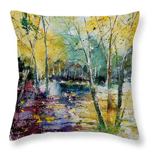 Pond Throw Pillow featuring the painting Watercolor 280809 by Pol Ledent