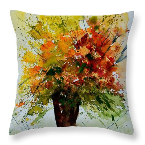 Flowers Throw Pillow featuring the painting Watercolor 290806 by Pol Ledent