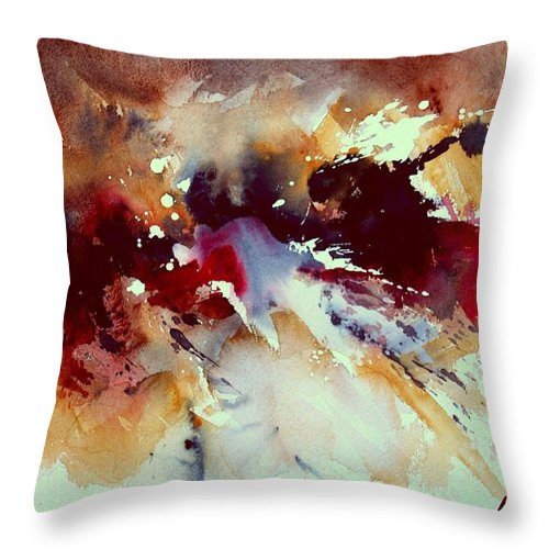 Abstract Throw Pillow featuring the painting Watercolor 301107 by Pol Ledent