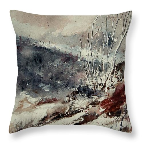 Snow Throw Pillow featuring the print Watercolor 446 by Pol Ledent