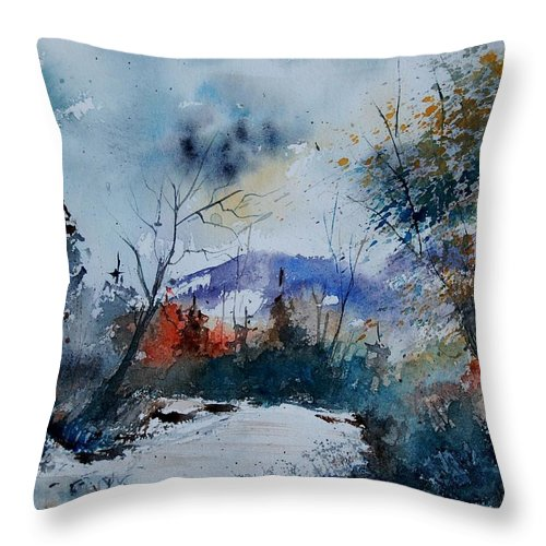 Landscape Throw Pillow featuring the painting Watercolor 802120 by Pol Ledent
