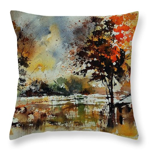 Tree Throw Pillow featuring the painting Watercolor 900152 by Pol Ledent